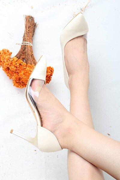 Kadın Krem Saten Yanı Açık Seffaf Stiletto Topuklu Ayakkabı - Lotus
