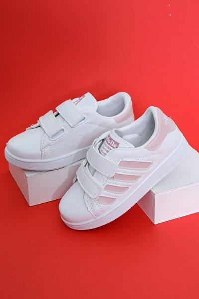 Kız Çocuk Beyaz Yanı Pembe Şeritli Ayakkabı