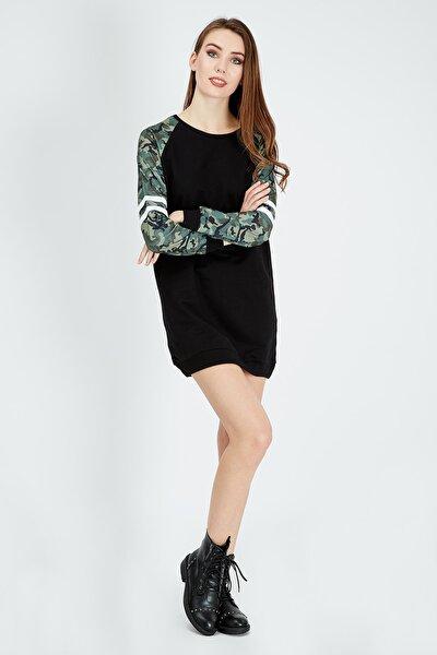 Kadın Siyah Kamuflaj Detaylı Sweat Elbise