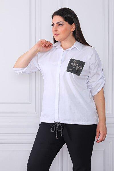 Kadın Beyaz Kelebek Baskılı ve Lastikli Gömlek
