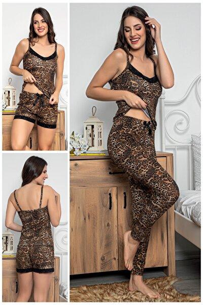 Kadın Leopar Desenli Dantel Detaylı Şortlu Ve Taytlı Pijama Takımı 3'lü Set 75000