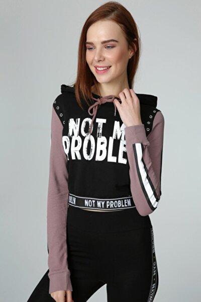 Kadın Siyah Pembe Yazı Detaylı Sweatshirt