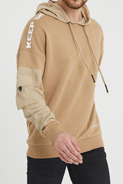 Bej Cep Detaylı Sweatshirt 1kxe8-44396-25