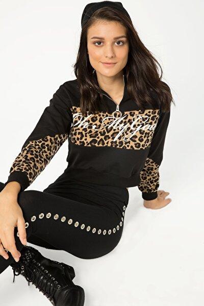 Kadın Siyah Leopar Detaylı Crop Sweatshirt