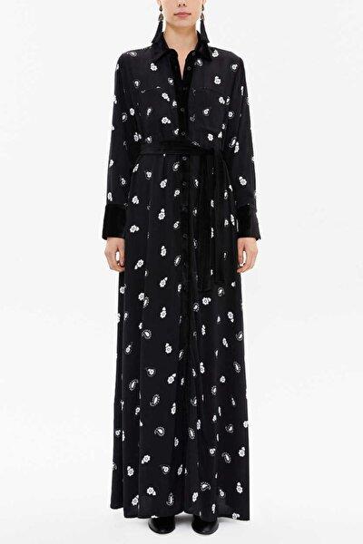 Kadın Siyah Kadife Karışımlı Bol Kesim Uzun Elbise