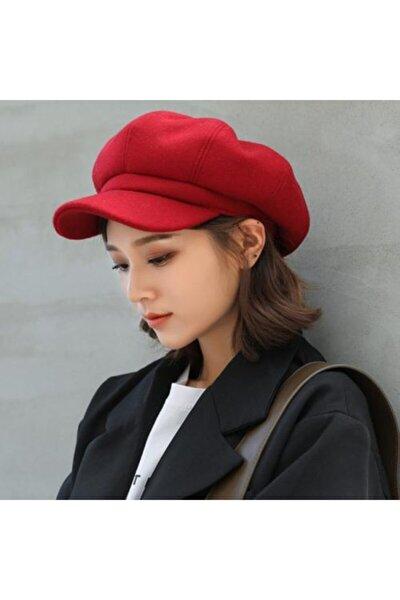 Kadın Kırmızı Yeni Sezon Şapka