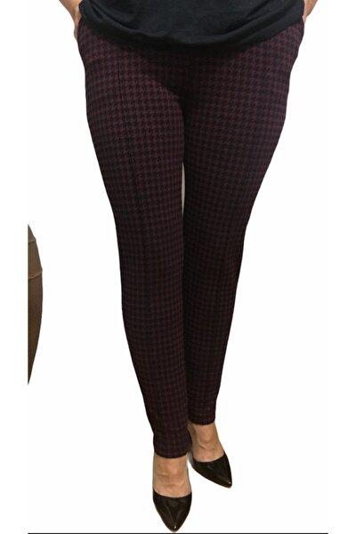 Kadın Siyah Bordo Kazayağı Kışlık Pantolon