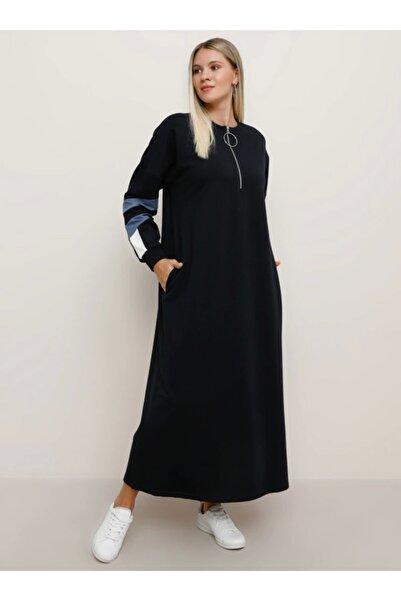 Büyük Beden Cep Detaylı Spor Elbise - Lacivert Indigo Ekru -