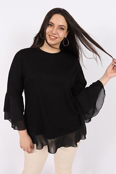 Kadın Siyah Şifon Volanlı Penye Bluz