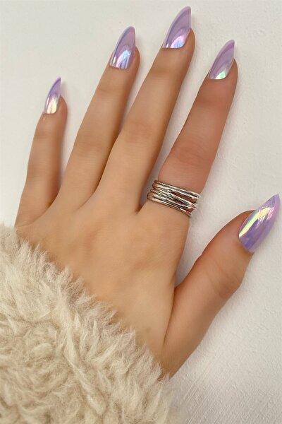 Kadın Gümüş Renk Iki Şeritli Ayarlanabilir Yüzük