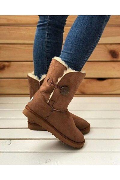 Kadın Taba Tek Düğmeli Içi Kürklü Bot Ayakkabı