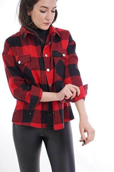 Kadın Kırmızı Ekose Desen Çift Cepli Gömlek