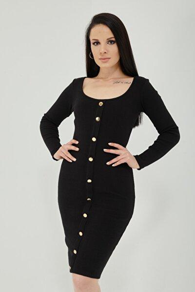 Önü Düğmeli Kaşkorse Elbise