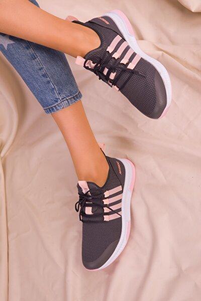 Kadın Fume-pudra  Sneaker 15195