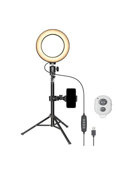 """6"""" Kumandalı Tripodlu Led Lamba Işık 50 cm Youtuber Video Resim Çekim Işığı"""