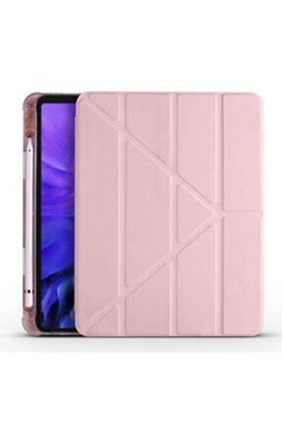 Ipad 8. Nesil 10.2 Uyumlu Rose Gold Kalem Bölmeli Standlı Silikon Tablet Kılıfı
