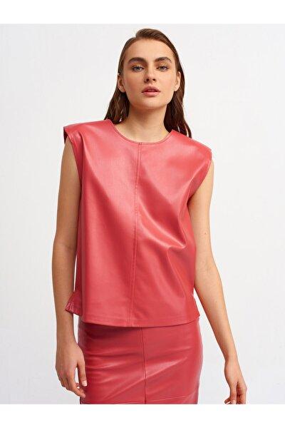 Kadın Kırmızı Deri Bluz