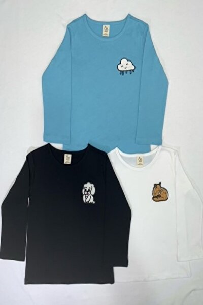3lü Takım Nakış Detaylı Bebek Body-siyah-beyaz-mavi