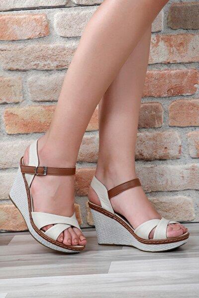 Bej Keten Kadın Sandalet 37701
