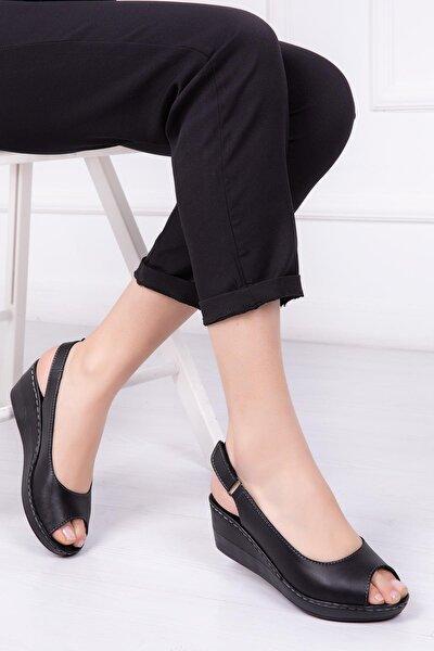 Hakiki Deri Siyah Kadın Dolgu Topuklu Deri Sandalet Crz-0402