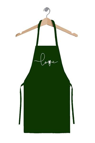 Master Önlük - Love Imzalı Mutfak Önlüğü Yeşil