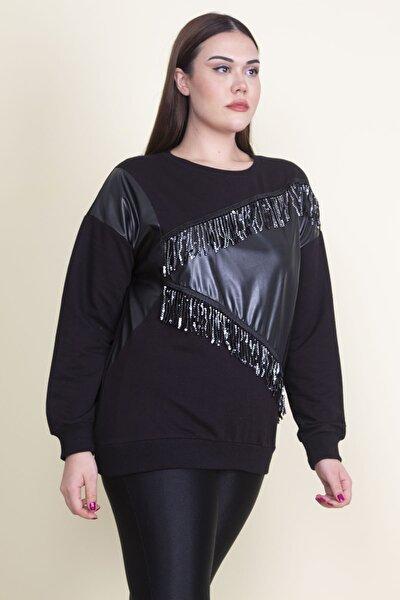 Kadın Siyah Payet Ve Suni Deri Detaylı Sweatshirt 65N21238