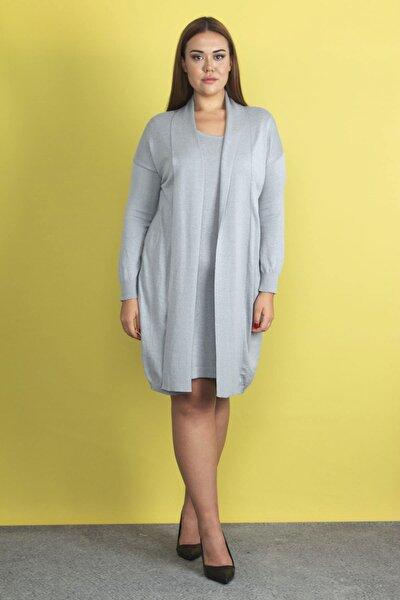 Kadın Gri Ön Kısmı  Elbiseli  Hırka 65N19811