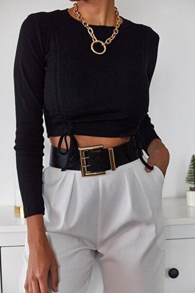 Kadın Siyah Büzgülü Bluz 1KZK2-11036-02