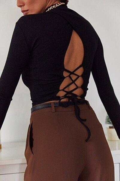 Kadın Siyah Sırtı Bağlamalı Bluz 1KZK2-11045-02