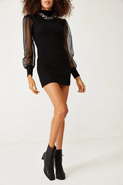 Kadın Siyah Kolları Tüllü Elbise 1KZK6-11077-02