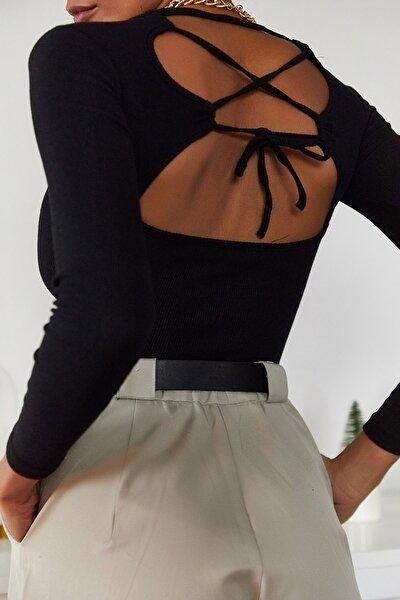 Kadın Siyah Sırt Detaylı Bluz 1KZK2-11034-02