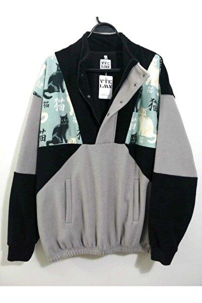 Unisex Siyah Gri Yarım Fermuarlı Polar Sweatshirt