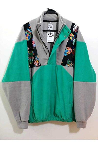 Unisex Gri Yeşil Yarım Fermuarlı Polar Sweatshirt