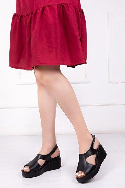 Hakiki Deri Siyah Kadın Dolgu Topuklu Deri Sandalet Dp-86284