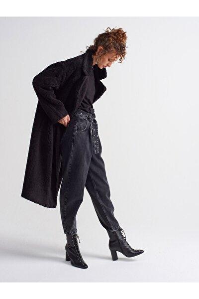 Kadın Siyah  Uzun Peluş Manto-6824