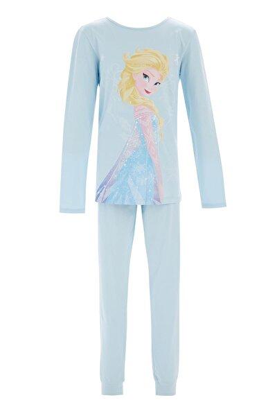 Kız Çocuk Mavi Frozen Lisanlı Pijama Takımı