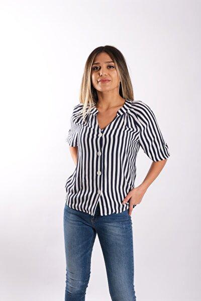 Kadın Yarım Kol Çizgili Gömlek