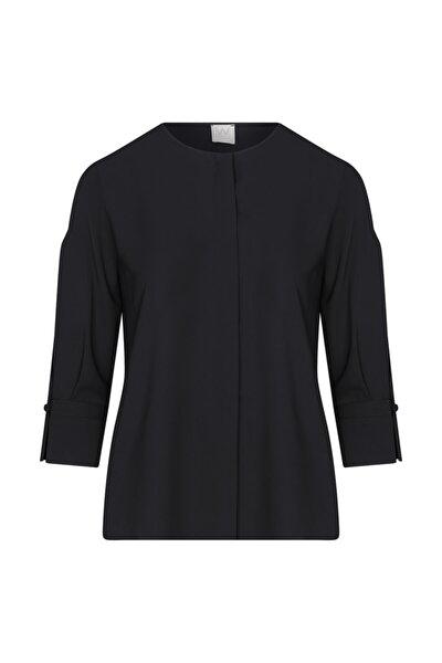 Kadın Siyah Kolları Yırtmaçlı Bluz