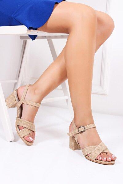 Hakiki Deri Hasır Deri Kadın Topuklu Hasır Sandalet Dp30-7064