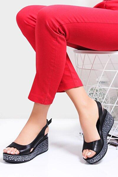 Hakiki Deri Siyah Kadın Dolgu Topuklu Deri Sandalet Dp26-5001