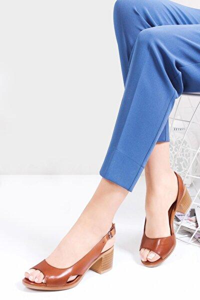 Hakiki Deri Taba Kadın Topuklu Deri Sandalet Dp26-4603