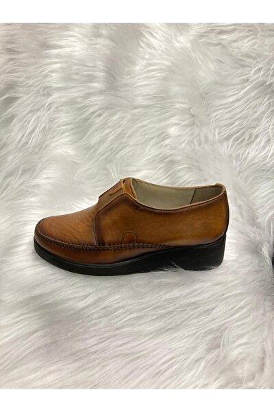 Kadın Kahverengi Hakiki Deri Full Ortopedik Comfort Taban Ayakkabı