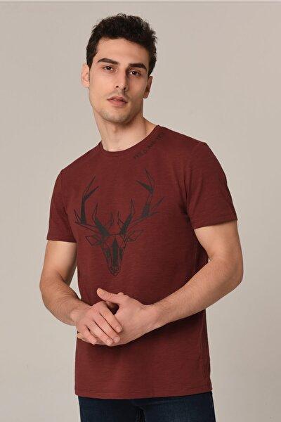 Erkek Bordo Baskılı Bordo T-Shirt