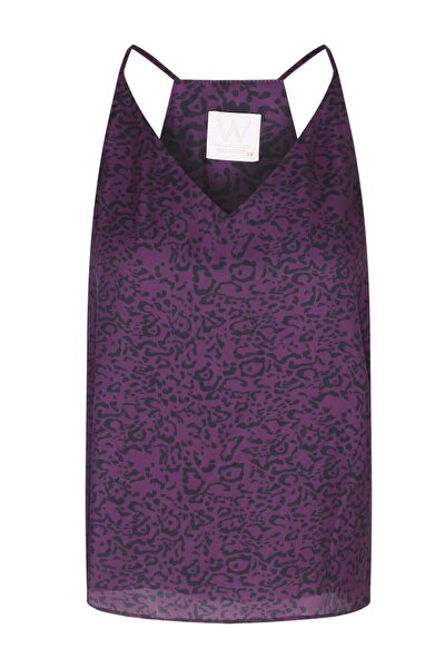 Kadın Mor Desenli Askılı Bluz