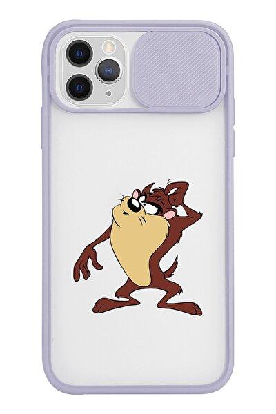 Tazmanya Canavarı Tasarımlı Iphone 11 Pro Max Slayt Lens Kamera Korumalı Lila Telefon Kılıfı
