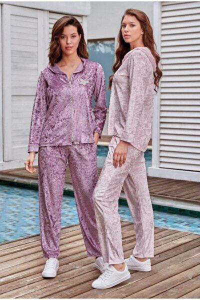Kadın Pudra Kadife Pijama Takımı 227