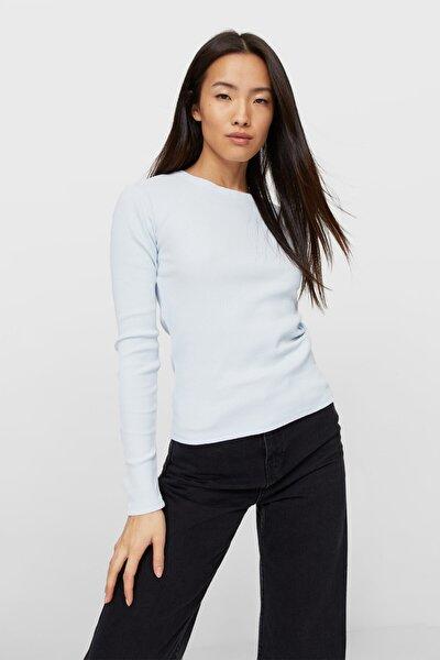 Kadın Açık Mavi Uzun Kollu T-Shirt 06509390