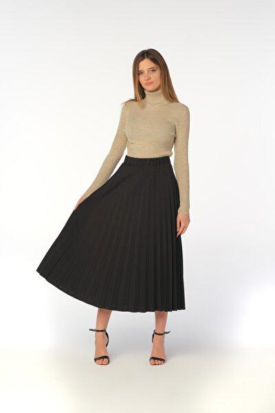 Kadın Siyah Beli Lastikli Pliseli Uzun Etek