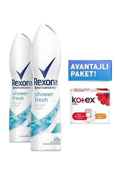 Shower Fresh Kadın Sprey Deodorant 150 Ml X2 + 8'li Kotex Normal