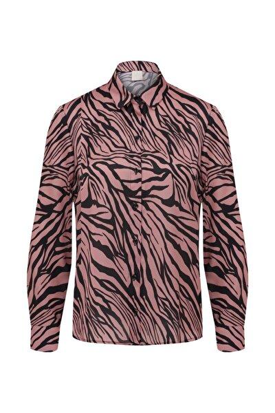 Kadın Siyah Desenli Basic Bluz